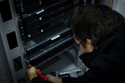 Stuart re-installing racks