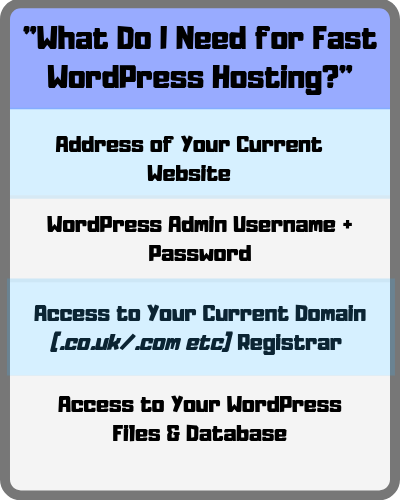 what do i need for fast wordpress hosting table