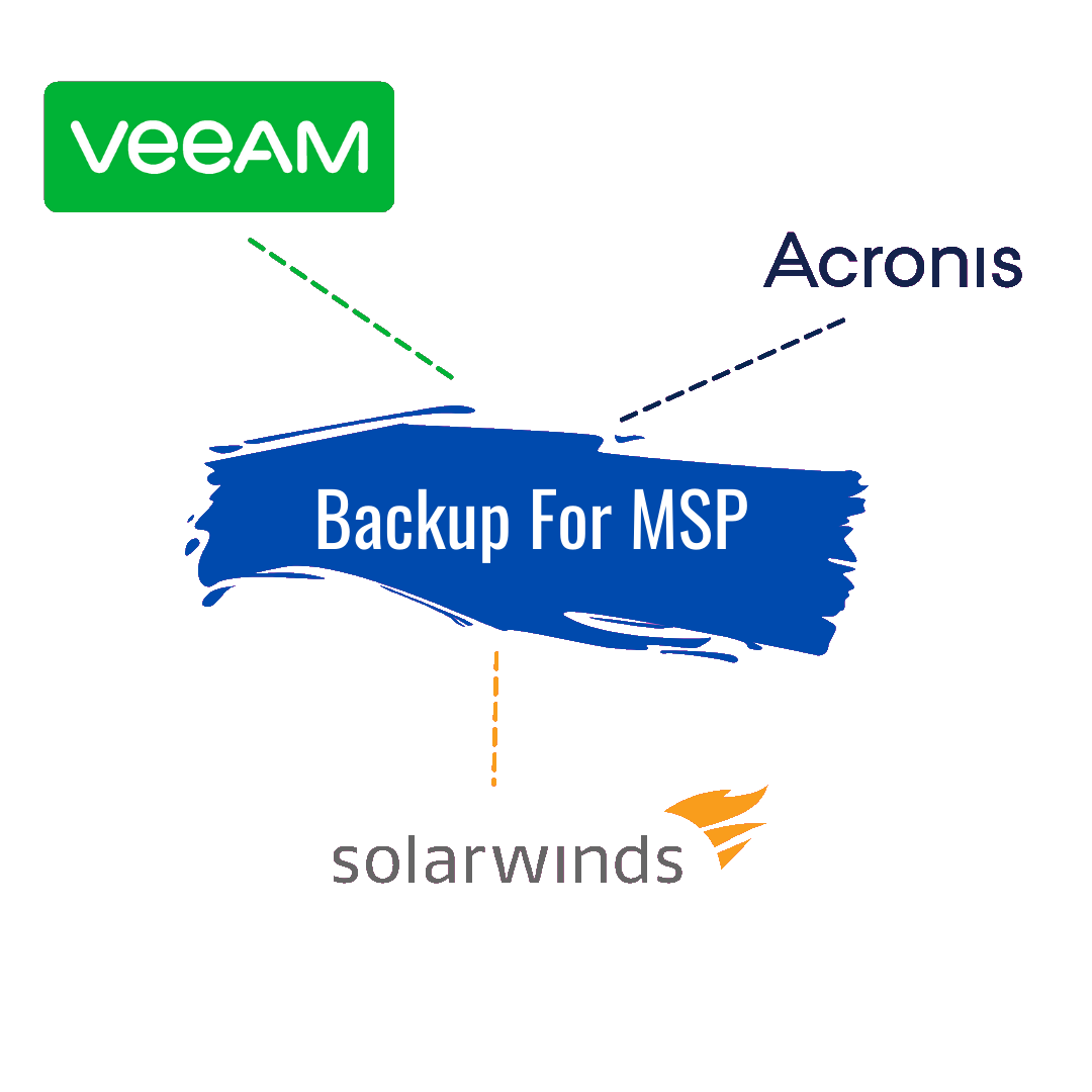Backup for MSP software, Veeam, Acronis, Solarwinds